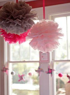 decorative pomoms for little girls bedroom or birthday parties