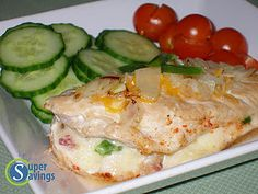 """""""Jalapeno, Bacon, and Pepper Jack Stuffed Chicken"""" Recipe.....delicious, easy and healthy dinner!! (low calorie, low carb, high protein) from Super Savings Blog"""