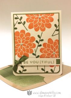 Be You(tiful) - #stampinup, #stampin'up!, #stamping, #stampinup, #pretty, #maryfish, #beautiful, #flower, #flowerpatch #suo, #cas