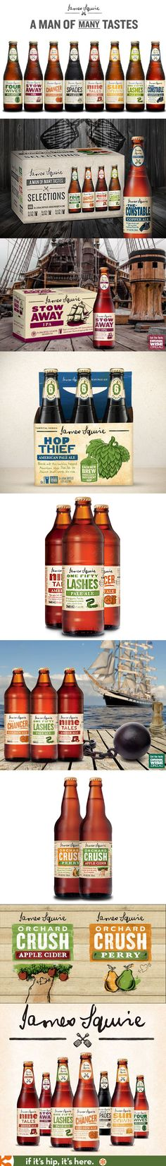 Labels and Packaging for James Squires Craft Beers and Beverages
