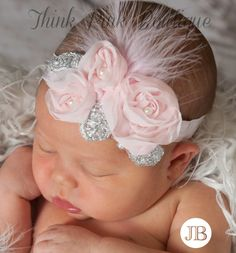Beautiful Baby Pink and Silver Floral Headband with Feather