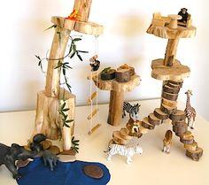 miniature wood treehouse