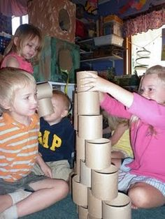 Recycle cardboard tubes for the block area