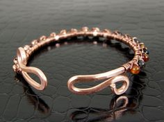 Women's Beaded Copper Wire Bangle Wire Wrapped with by BonzerBeads, $24.00