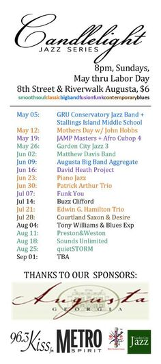 Complete #candlelightjazz schedule. Save the date for September 1 (Labor Day Jazz)