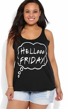 Deb Shops Plus Size Racerback Tank Top with Hello Friday Screen