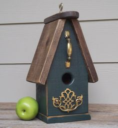 Primitive Birdhouse Wood Birdhouse Hunter Green by Milepost7, $34.00