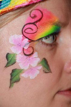 Eye design Rainbow flowers face paint schmink (By Suzy's Rainbow Dreams)