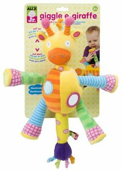 "Alex Jr. Giggle E. Giraffe Developmental Toy by Alex Jr.. $19.99. From the Manufacturer                Pull, shake and explore. Explore cause and effect by squeezing and hearing sounds in the hooves and tail. Mirror and textures stimulate sensory awareness. Develops motor skills by shaking and tugging the legs and tail. Dimensions: 11"" x 4.5"" x 4.5"". Ages 3 months and above.                                    Product Description                Pull, shake and ex..."