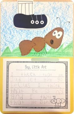 "Art and writing activity to accompany the picture book ""Hey, Little Ant""  {Blog:  The First Grade Parade}"