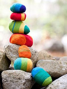 Looking gray out there? Try yarn bombing some stones. These also make excellent paper weights and stockings stuffers, too. #KidsStuffWorld