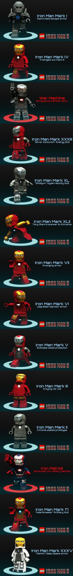 Iron Man suits (custom designs renderered in Blender) #LEGO #IronMan #blender