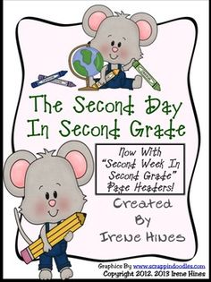 "BEST SELLER! Second Day In Second Grade Unit: A Back-To-School Packet For 2nd Grade. {Based On Common Core Standards}    NOW EXPANDED TO 38 PAGES TO INCLUDE ""SECOND WEEK IN SECOND GRADE"" PAGE HEADERS! $"