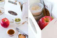 How fun it would be to have a fall wedding and give caramel apple DIY boxes as favors.