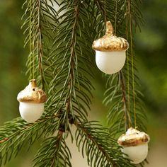 holiday, gold leaf, leaf acorn, porcelain, ornament set, acorn ornament, leaves, christma, ornaments