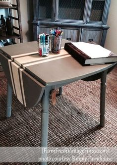 Two Tone Drop Side Table~Theme Furniture Makeover Day~ - Farm Fresh Vintage Finds