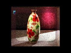 ▶ Decoupage. Make vases of usual glass bottles using glass painting. Diy. Handmade - YouTube