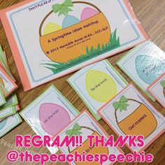Spring at last!! Here is a free idiom match up game by @thepeachiespeechie.  You can find it at her TpT store at: http://www.teacherspayteachers.com/Product/Springtime-Idiom-Match-Up-602628