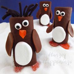 Look at these adorable penguin treats made with Little Debbie Swiss Rolls!