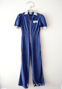 vintage 1970s pantsuit  70s denim blue zip up by shopREiNViNTAGE, $ 58.00