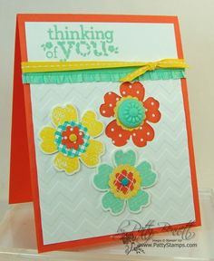 the Flower Shop stamp set and punch with Ruffled Ribbon embellishment from Stampin' Up make a cute spring or summer card. Thinking of you, or birthday, get well, any sentiment would be fun on this happy card. by Patty Bennett, www.PattyStamps.com