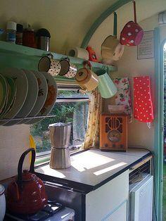 trailer, dream, shabby chic, caravan interiors, kitchen, vintage interiors, camper storage, hanging pots, vintage campers