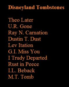 Names for tombstones