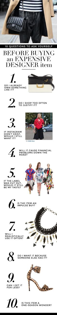 10 Questions to ask yourself before buying a pricey designer item StyleCaster