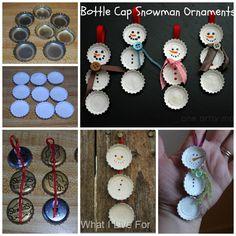 Bottle cap snowman ornaments #diy #crafts #christmas