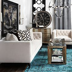 decor, living rooms, chic furniture, living spaces, galleri, color, area rugs, live room, leather chairs