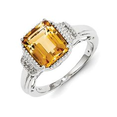 Sterling Silver 2.28 ct Citrine and White Topaz Rectangular Ring