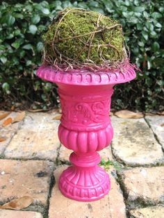 urn topiary | Hot PInk Green Moss Topiary Urn by Swede13 on Etsy