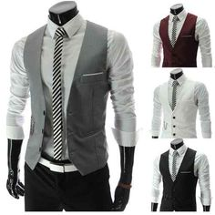 Groomsmen = white dress shirt (tailored) + graphic tie (maybe something red to tie in their color) + black pants + grey vest & white belt... I'd have the groom with a nice belt buckle so he stands out.