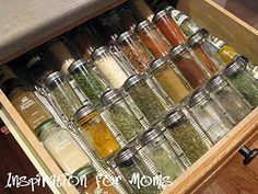 organized spices in drawer rather than pantry