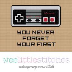 Nintendo Cross-stitch Pattern. Love this - but need a Super Nintendo version ^_^