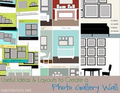 Useful Ideas and Layouts to Create a Photo Gallery Wall by @Jenna_Burger for www.sasinteriors.net