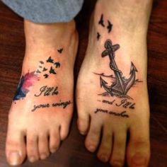 Brother Sister Tattoo Ideas Wings Anchor.. on the ribs