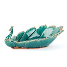 Teal Ceramic Peacock Bowl | Kirkland's