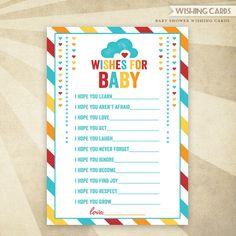 Retro Rainbow Baby Shower - Printable Wishing Cards -#HWTM #Etsy #Rainbow #BabyShower