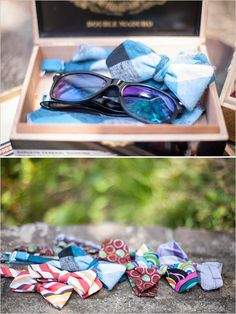 Each groomsman received a box with their bow-tie, suspenders and sunglasses