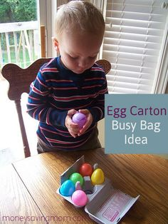 Busy Bag Idea: Egg Carton: I was surprised at how much the kids love this!