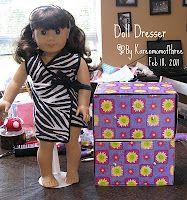 Karen mom of three's craft blog: 18 inch Doll Dresser from Ritz Cracker Boxes