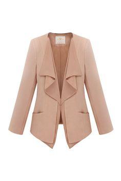 Brief Style Solid Color Pink Suit, so unique!
