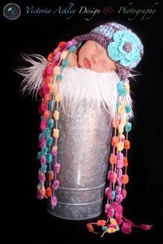 Spring Baby Girl Beanie Newborn Crochet PHOTO PROP