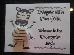 My Zebra Jungle Decorations - How cute is this Welcome to Kindergarten note??? Cute and delicious that is....