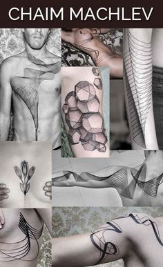 Chaim Machlev in Berlin, Germany. If I ever go to Berlin, I will get a tattoo from him. Amazing geometric and line tattoos.