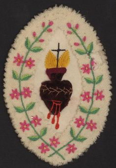 EX Voto Antique Hand Embroided Sacred Heart Cross
