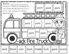 ack - firetruck word family worksheet