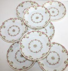 Set 10 Antique French Wm. Guerin & Cie Limoges Pink Rose Garland Berry Bowls french antiqu, antiqu limog, 10 antiqu