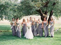 bridesmaid dresses, grey bridesmaid, bridesmaid bouquets